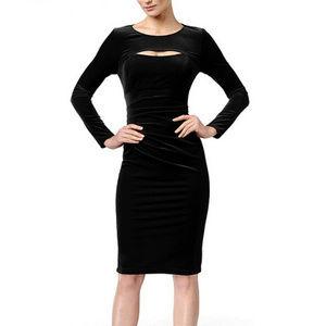 Black Velvet Long Sleeve Cocktail Sheath Dress